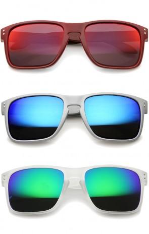 Mens Action Sports Skater Surfer Rectangle Mirrored Lens Sunglasses 55mm