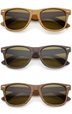 Classic Shape Wood Printed Square Lens Horn Rimmed Sunglasses 54mm