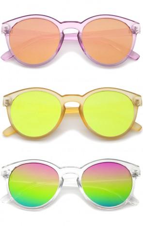 Modern P3 Keyhole Bridge Round Mirror Flat Lens Horn Rimmed Sunglasses 49mm