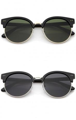 Women's Oversize Half Frame Color Mirror Flat Lens Round Sunglasses 55mm