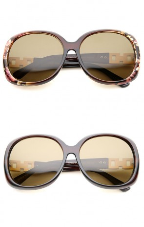 Women's Polarized Chain And Rhinestone Temple Round Oversize Sunglasses 60mm