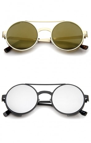 Retro Steampunk Side Cover Crossbar Metal Frame Round Sunglasses 49mm