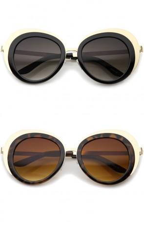 Women's Oversize Two-Tone Metal Frame Border Round Sunglasses 50mm