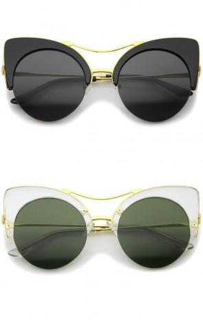 Women's Bold Metal Brow Bar Semi-Rimless Round Cat Eye Sunglasses 52mm