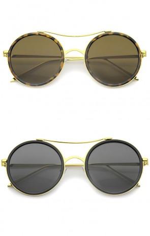 Classic Metal Temple Double Nose Bridge Flat Lens Round Sunglasses 52mm