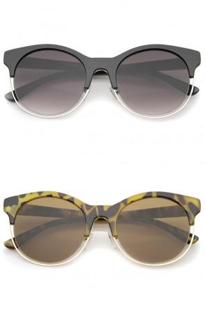 Modern Half Frame Metal Trim Round Cat Eye Sunglasses 53mm