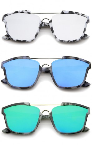 Modern Horn Rimmed Colored Mirror Flat Lens Square Sunglasses 58mm