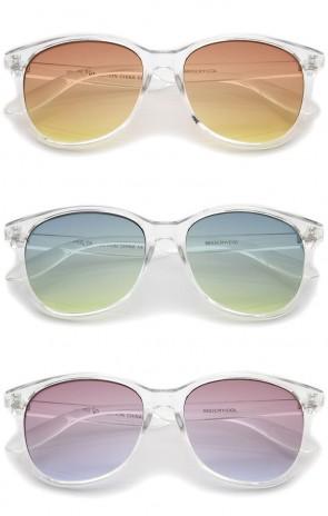 Modern Clear Frame Gradient Flat Lens Horn Rimmed Sunglasses 55mm