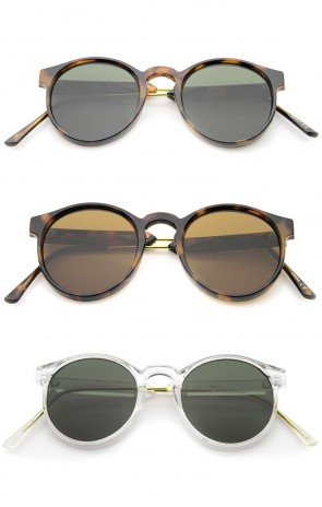 Retro Horn Rimmed Metal Temple Flat Lens P3 Round Sunglasses 49mm