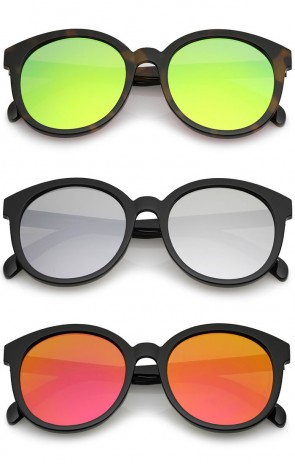 Oversize Super Flat Colored Mirror Lens Round Sunglasses 54mm