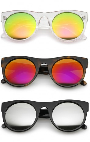 Modern Flat Top Colored Mirror Flat Lens Round Sunglasses 50mm