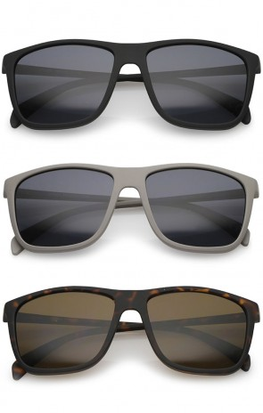 Lifestyle Rubberized Matte Finish Slim Temple Flat Top Square Sunglasses 56mm