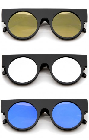 Futuristic Geometric Flat Top Color Mirrored Flat Lens Round Sunglasses 47mm