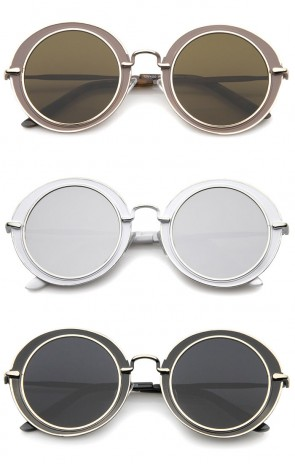 Modern Metal Frame Matte Border Colored Mirror Flat Lens Round Sunglasses 48mm
