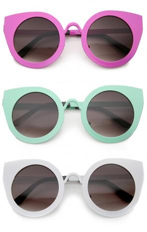 Women's Metal Frame Oversize Round Cat Eye Sunglasses 47mm