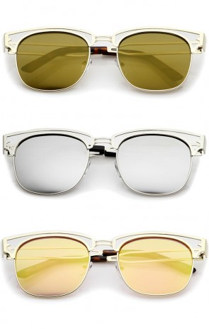 Modern Open Metal Colored Mirror Square Flat Lens Horn Rimmed Sunglasses 53mm