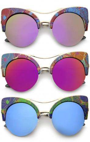 Women's Flat Lens Floral Print Semi-Rimless Round Cat Eye Sunglasses 52mm