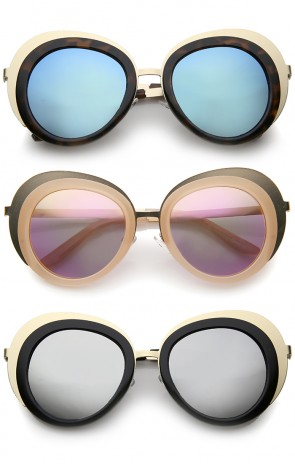 Women's Two-Tone Metal Backing Colored Mirror Lens Round Sunglasses 50mm