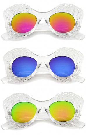 Transparent Cutout Frame Colored Mirror Lens Oversize Butterfly Sunglasses 49mm