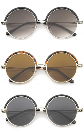Retro Metal Frame Thin Temple Top Trim Flat Lens Round Sunglasses 51mm