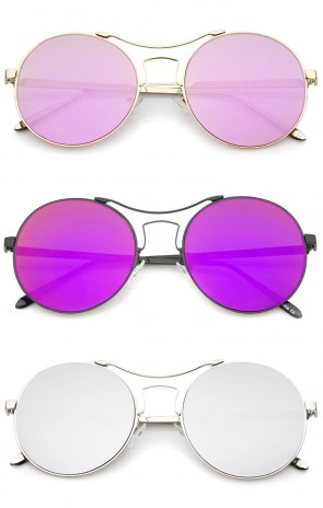 Modern Thin Metal Frame Curved Brow Bar Colored Mirror Flat Lens Round Sunglasses 55mm
