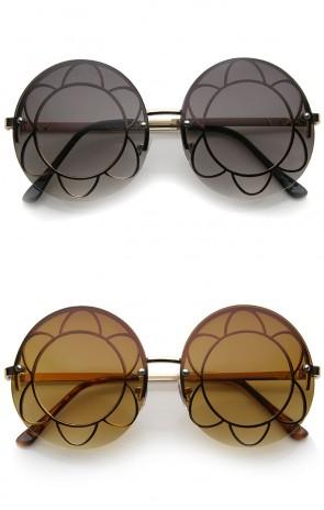 Women's Rimless Floral Frame Gradient Lens Oversize Round Sunglasses 59mm