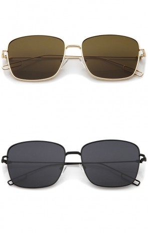 Minimal Wire Metal Frame Hook Temple Flat Lens Square Sunglasses 58mm