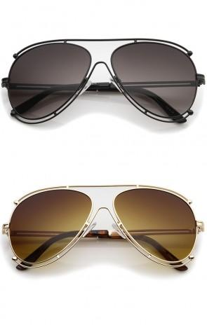Modern Metal Floating Border Brow Bar Gradient Lens Aviator Sunglasses 59mm
