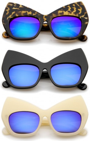 Chunky Frame Colored Mirror Square Lens Oversized Cat Eye Sunglasses 49mm