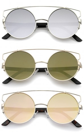 Midsize Metal Frame Horn Rimmed Crossbar Mirror Flat Lens Round Sunglasses 53mm