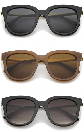 Modern Horn Rimmed Metal Temple Square Flat Lens Cat Eye Sunglasses 54mm