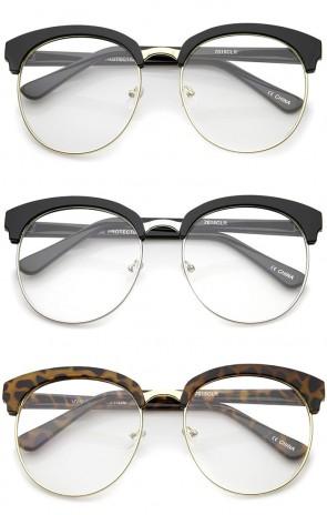 Oversized Flat Clear Lens Half Frame Semi-Rimless Round Glasses 58mm