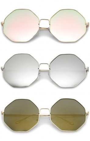 Oversize Metal Frame Slim Temple Colored Mirror Lens Hexagon Sunglasses 63mm