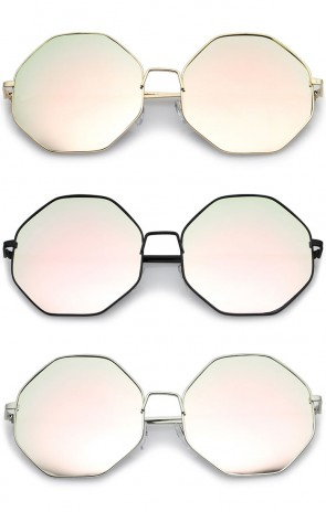 Oversize Metal Frame Slim Temple Pink Mirror Lens Hexagon Sunglasses 63mm