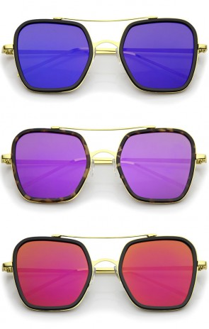 Modern Slim Temple Browbar Color Mirrored Flat Lens Square Sunglasses 52mm