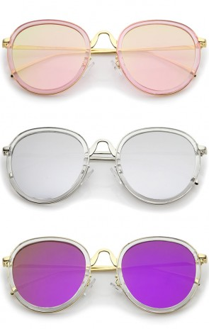 Modern Arched Bridge Slim Temple Colored Mirror Flat Lens Round Sunglasses 52mm