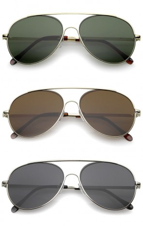 Classic Brow Bar Semi-Rimless Lens Aviator Sunglasses 57mm