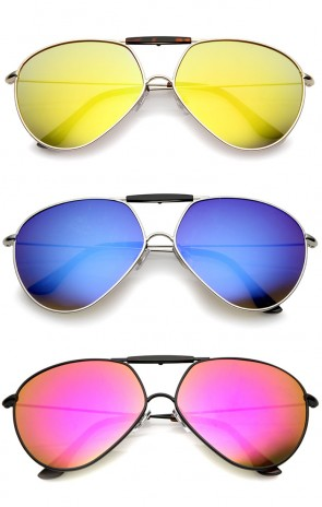 Modern Brow Bar Detail Slim Temple Metal Frame Colored Mirror Lens Aviator Sunglasses 62mm