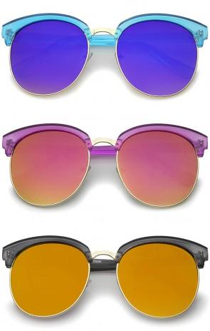 Womens Transparent Half-Frame Mirrored Flat Lens Round Sunglasses 68mm