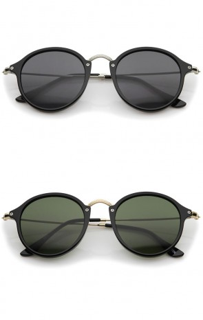 Iconic Classic Thin Metal Temple Neutral Colored Lens Round Sunglasses 49mm