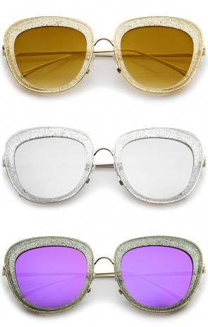 Transparent Glitter Frame Square Colored Mirror Lens Oversize Sunglasses 53mm
