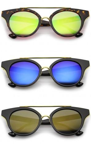 Double Nose Bridge Round Colored Mirror Lens Cat Eye Sunglasses 51mm