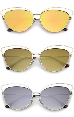 Women's Open Metal Frame Colored Mirror Oversize Cat Eye Sunglasses 58mm