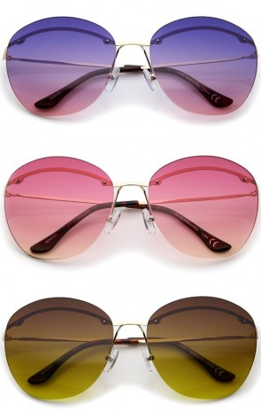 Oversize Metal Temple Gradient Colored Round Lens Rimless Sunglasses 63mm