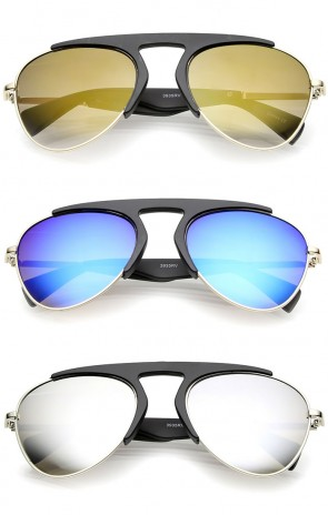 Bold Brow Bar Keyhole Nose Bridge Colored Mirror Lens Aviator Sunglasses 56mm