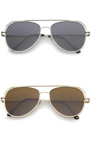 Modern Flat Top Slim Temple Super Flat Lens Aviator Sunglasses 55mm