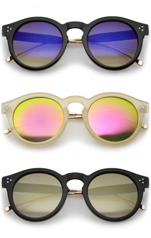 Metal Temple Keyhole Bridge Colored Mirror Lens P3 Round Sunglasses 50mm
