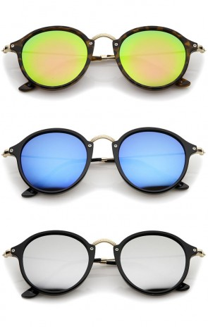 Iconic Classic Thin Metal Temple Colored Mirror Lens Round Sunglasses 49mm