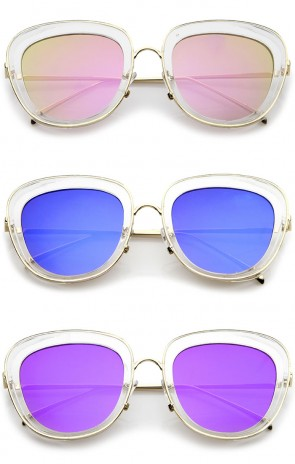 Women's Transparent Frame Square Colored Mirror Lens Oversize Sunglasses 53mm