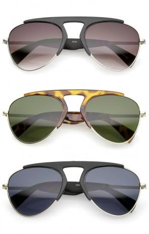 Bold Brow Bar Keyhole Nose Bridge Neutral-Colored Lens Aviator Sunglasses 56mm